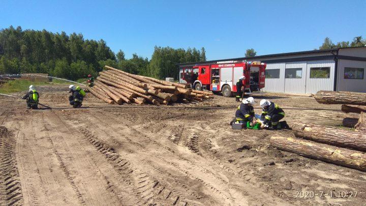 Ćwiczenia – gaszenie pożaru tartaku (Brzeska Wola)